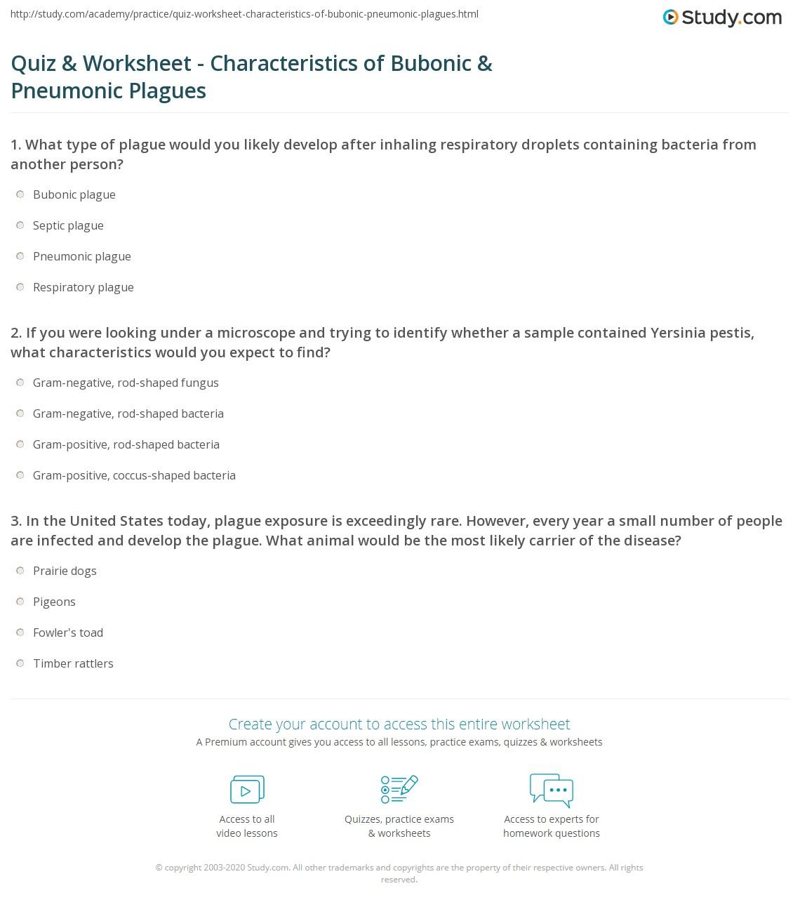 quiz worksheet characteristics of bubonic pneumonic plagues. Black Bedroom Furniture Sets. Home Design Ideas