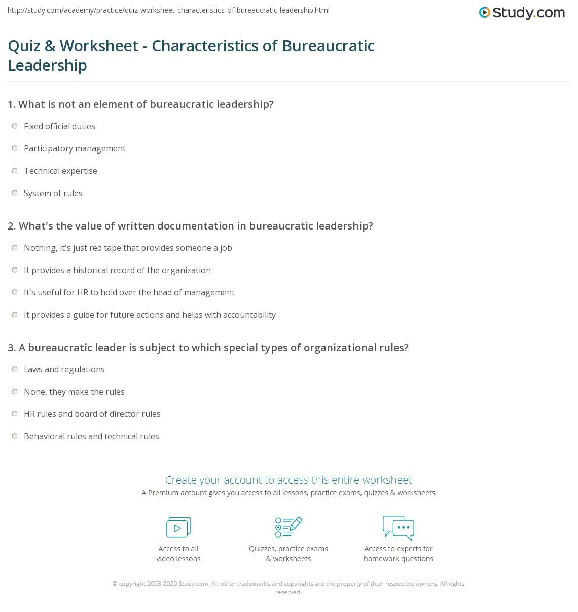 quiz & worksheet - characteristics of bureaucratic leadership