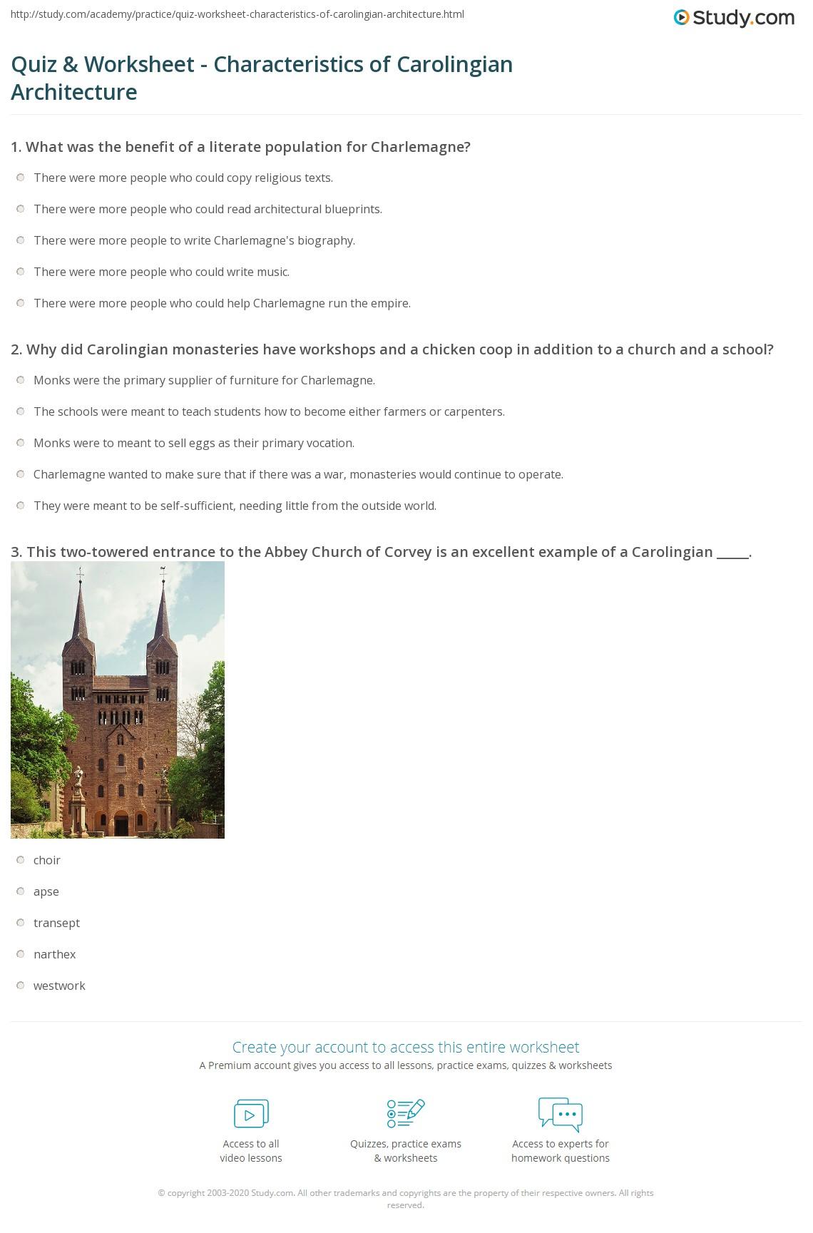 quiz worksheet characteristics of carolingian architecture
