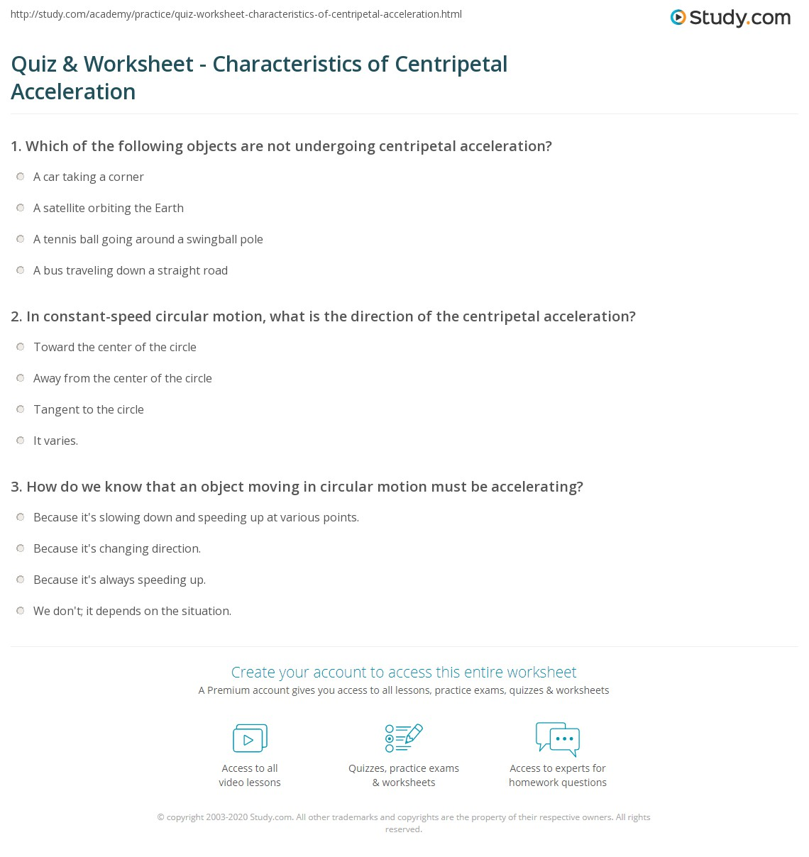 Quiz & Worksheet - Characteristics of Centripetal Acceleration ...