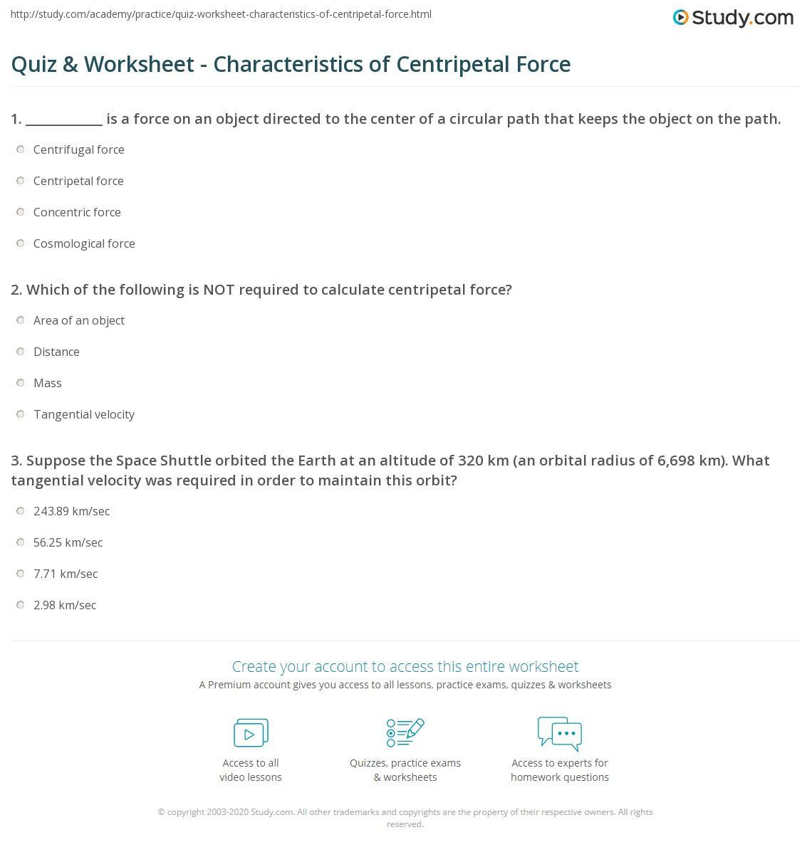 worksheet Centripetal Force Worksheet quiz worksheet characteristics of centripetal force study com print definition formula examples worksheet