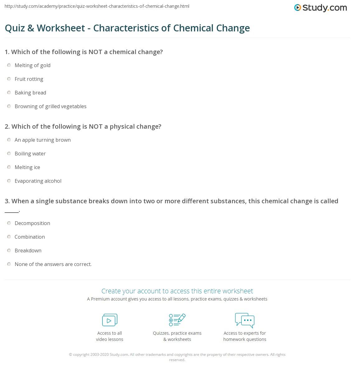Quiz Worksheet Characteristics Of Chemical Change Study Com