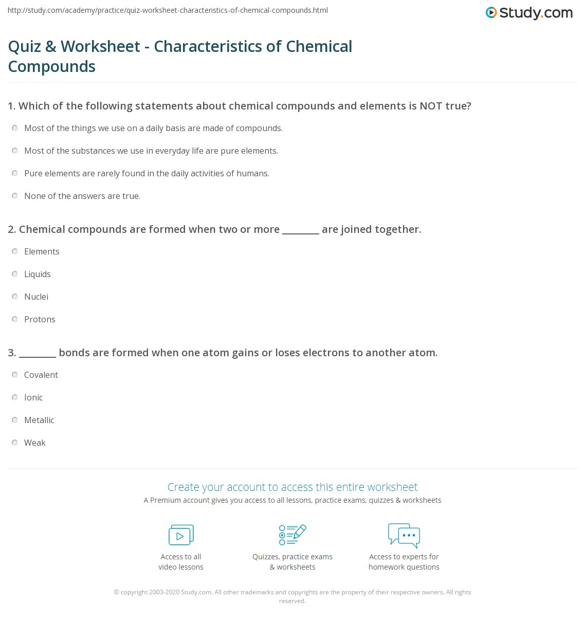 Quiz Worksheet Characteristics Of Chemical Compounds Study Com