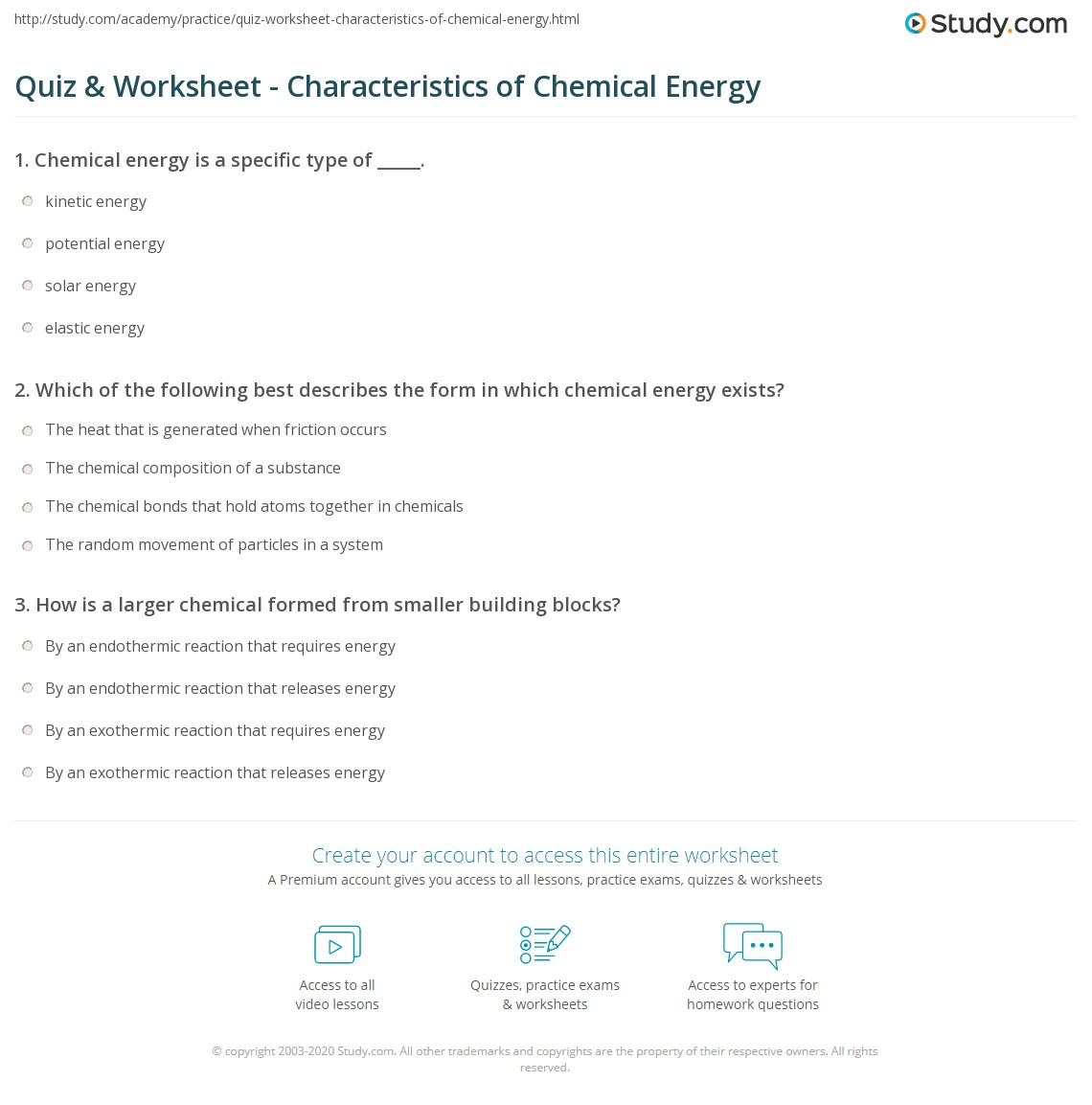 Quiz Worksheet Characteristics of Chemical Energy – Types of Energy Worksheets