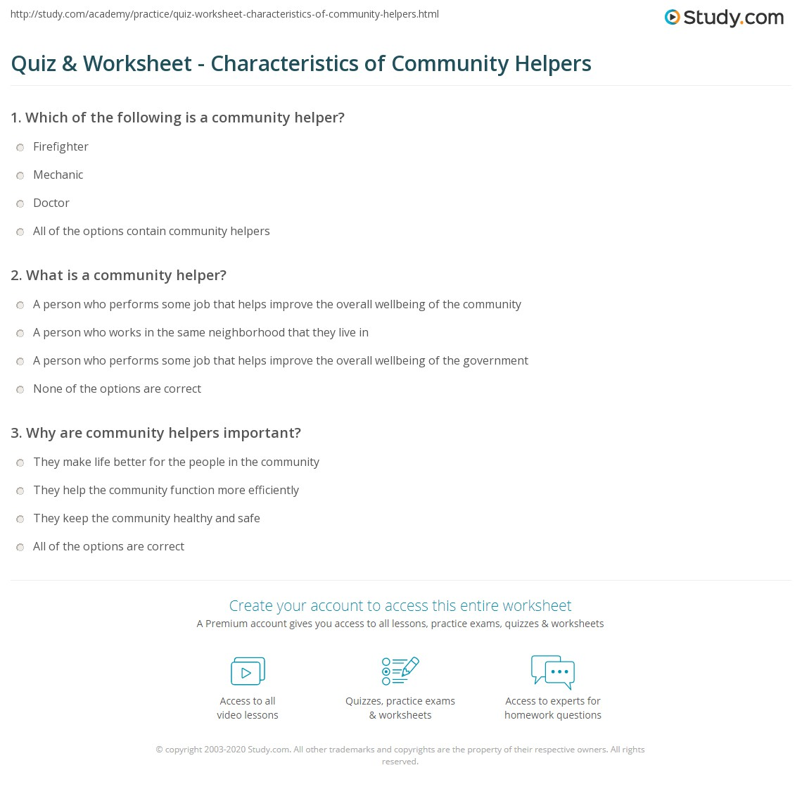 Worksheets Community Workers Worksheets quiz worksheet characteristics of community helpers study com print what are worksheet