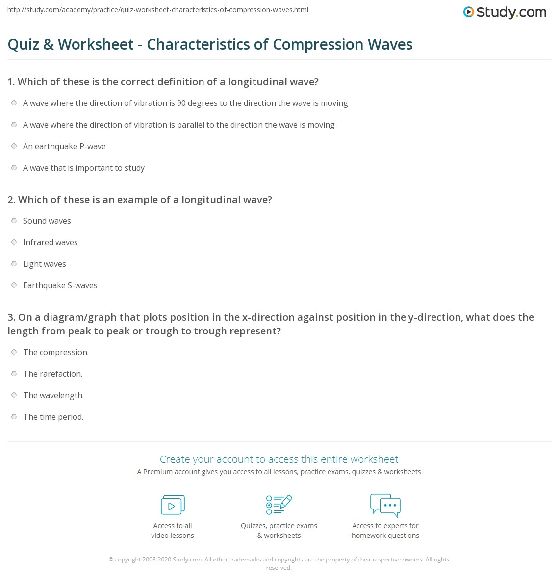 Quiz Worksheet Characteristics of Compression Waves – Wave Properties Worksheet