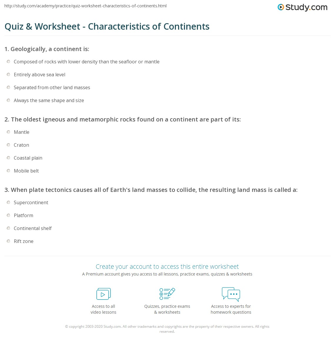 Worksheets Continents Worksheet quiz worksheet characteristics of continents study com print what is a continent definition explanation worksheet