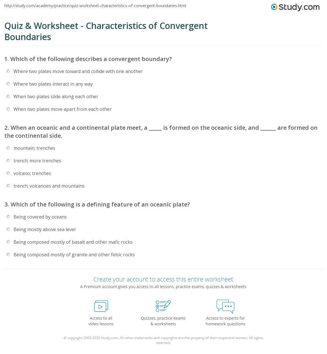 Quiz Worksheet Characteristics of Convergent Boundaries – Plate Boundaries Worksheet