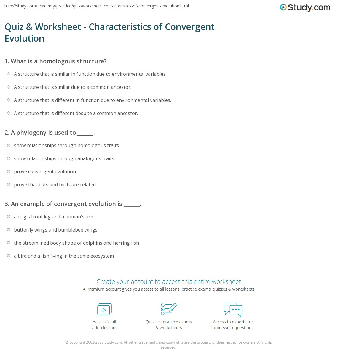 Quiz Worksheet Characteristics Of Convergent Evolution Study