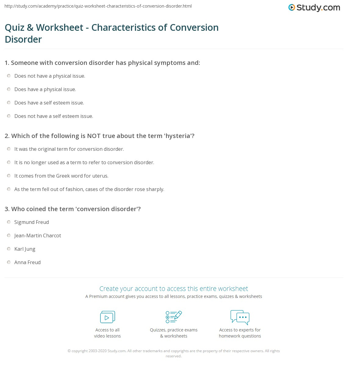 quiz & worksheet - characteristics of conversion disorder | study