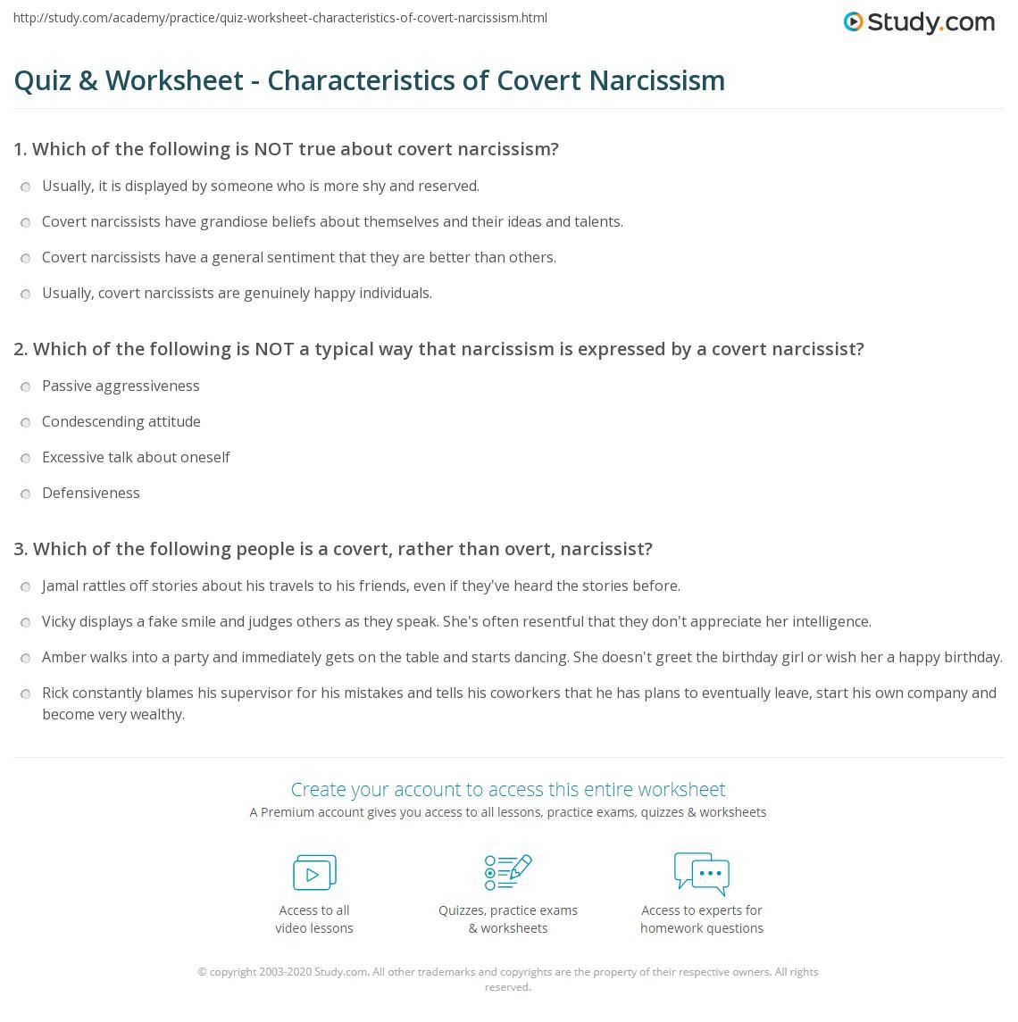 quiz worksheet characteristics of covert narcissism com print what is covert narcissism worksheet