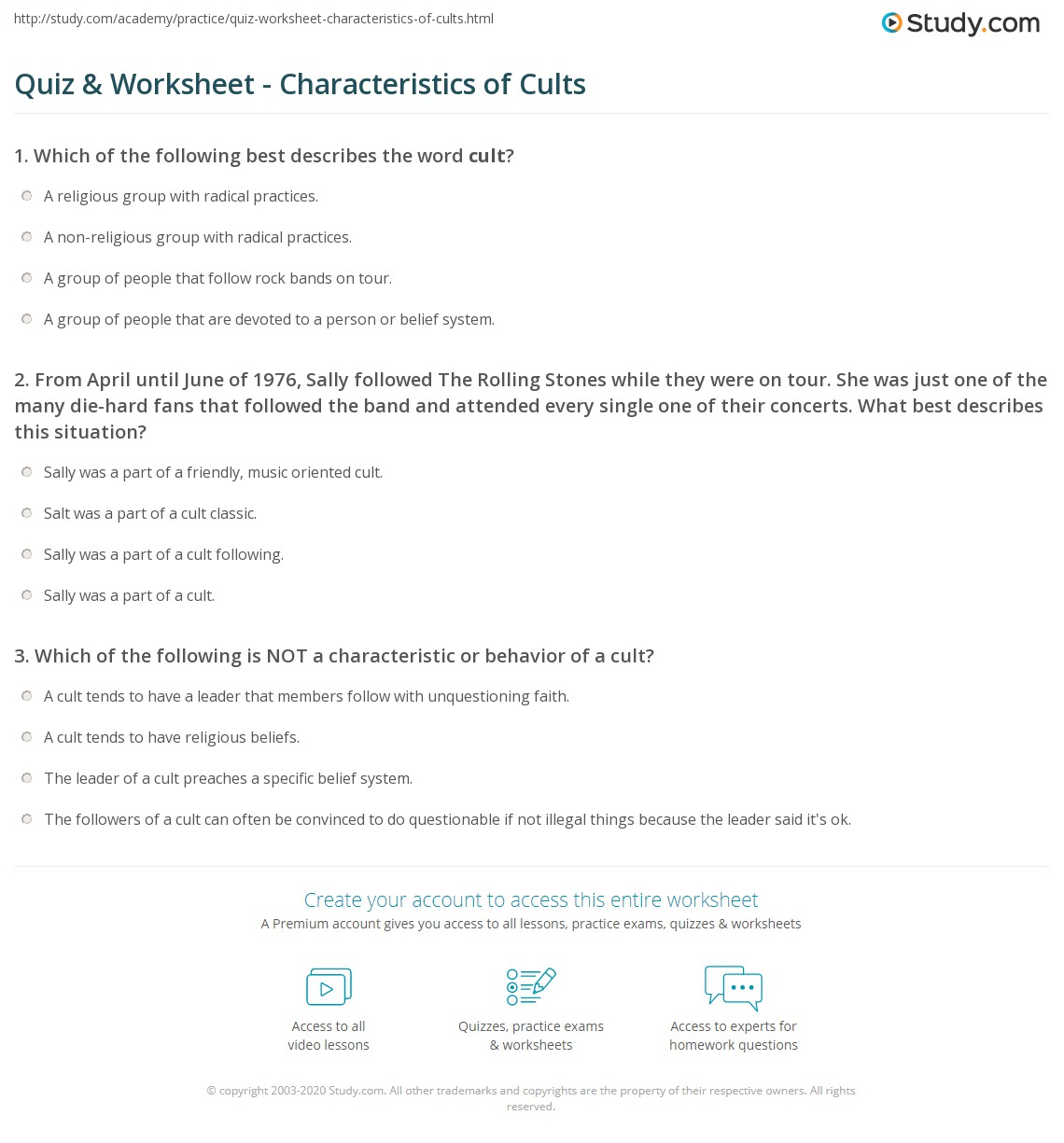 quiz & worksheet - characteristics of cults | study