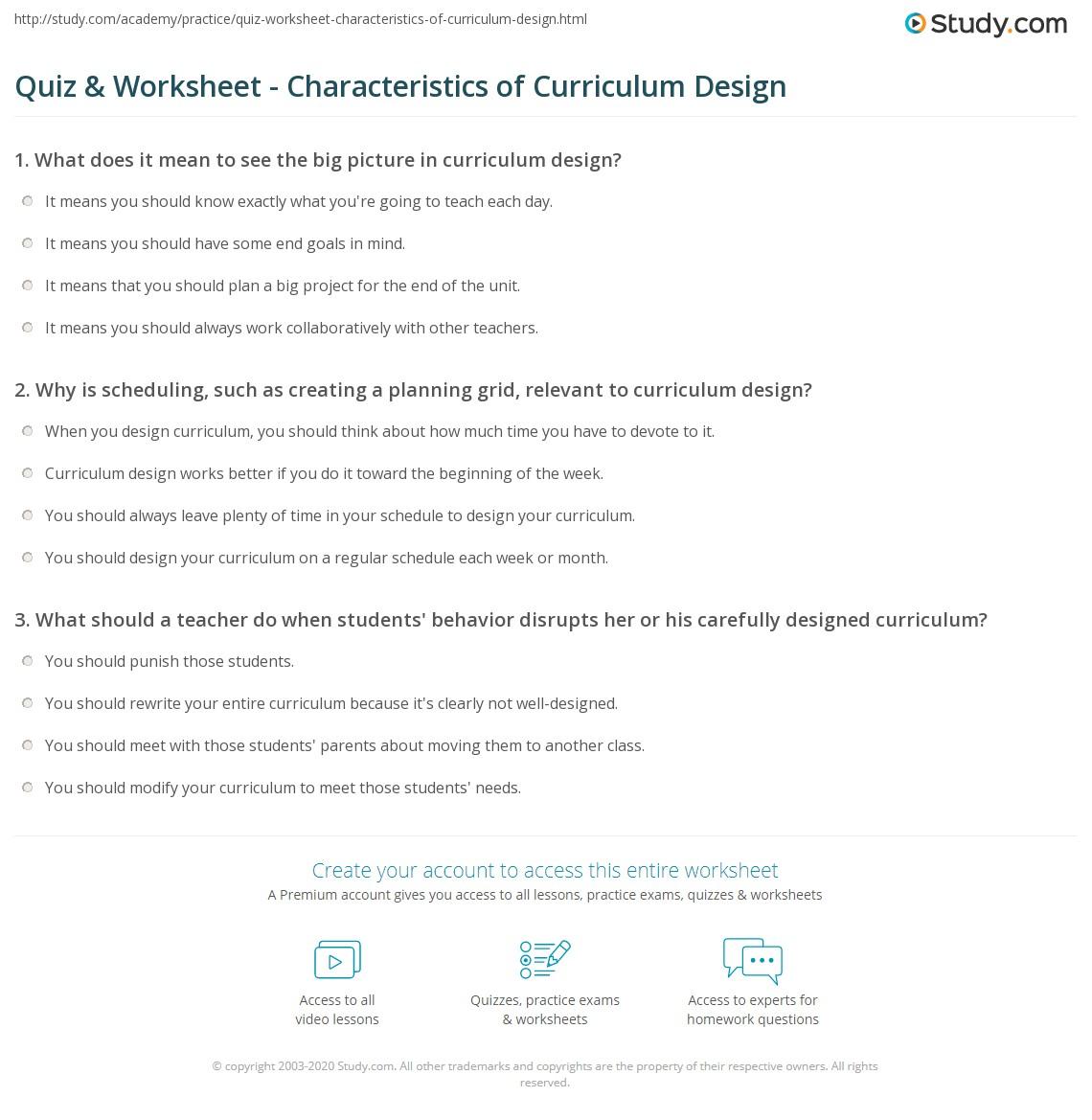 quiz worksheet characteristics of curriculum design. Black Bedroom Furniture Sets. Home Design Ideas