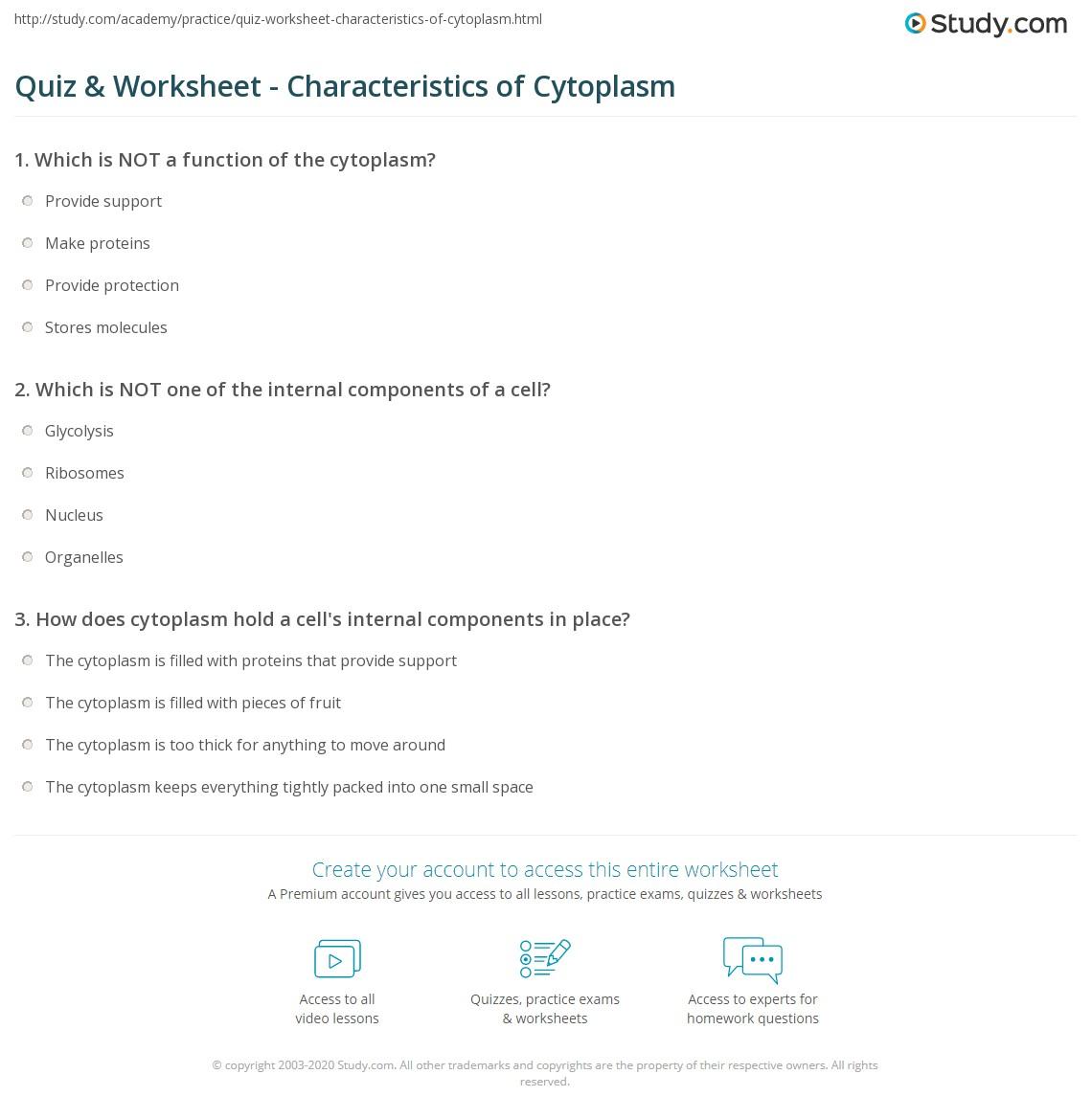 quiz worksheet characteristics of cytoplasm. Black Bedroom Furniture Sets. Home Design Ideas
