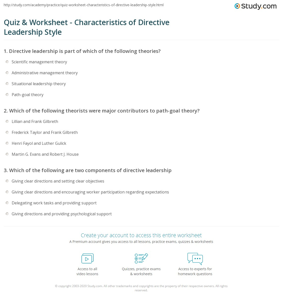 graphic about Leadership Style Quiz Printable named Quiz Worksheet - Capabilities of Directive Management