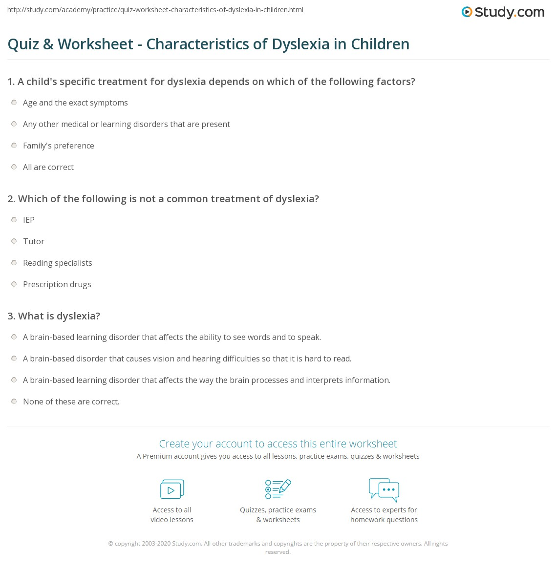 quiz worksheet characteristics of dyslexia in children. Black Bedroom Furniture Sets. Home Design Ideas