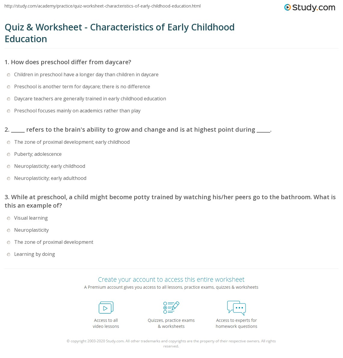 Quiz Worksheet Characteristics Of Early Childhood Education
