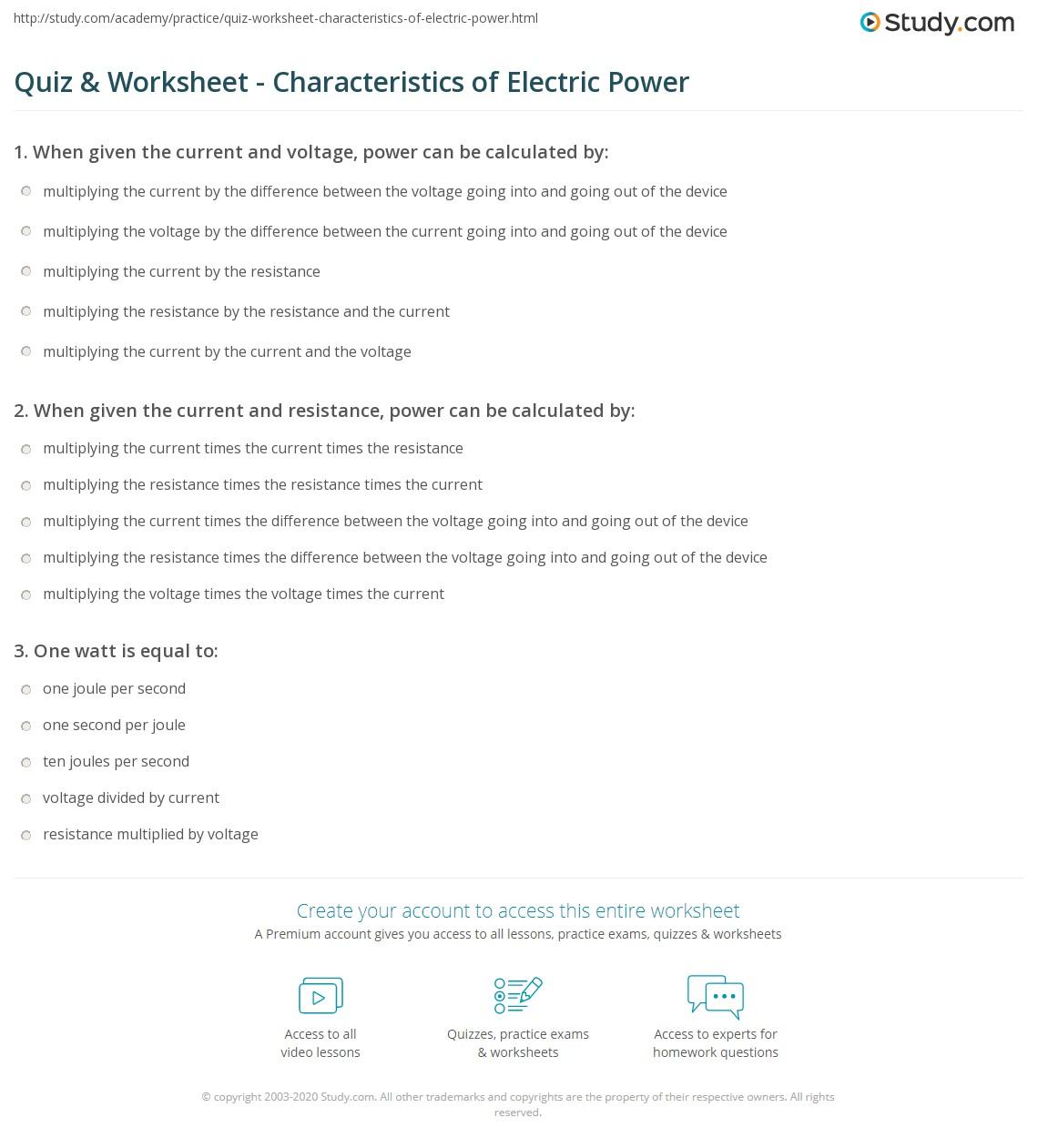 worksheet Power Worksheet quiz worksheet characteristics of electric power study com print what is worksheet
