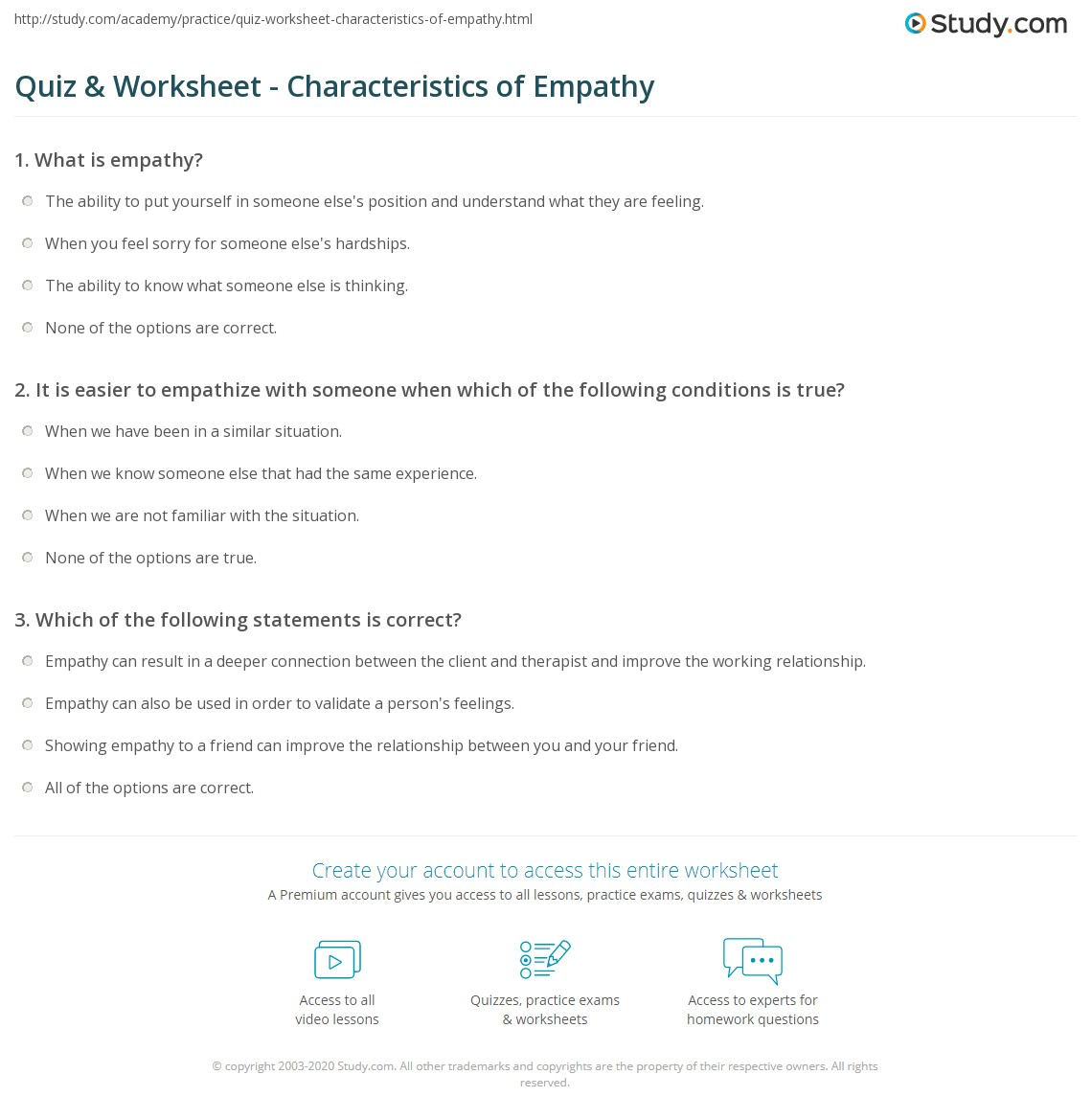 Quiz & Worksheet - Characteristics of Empathy | Study com