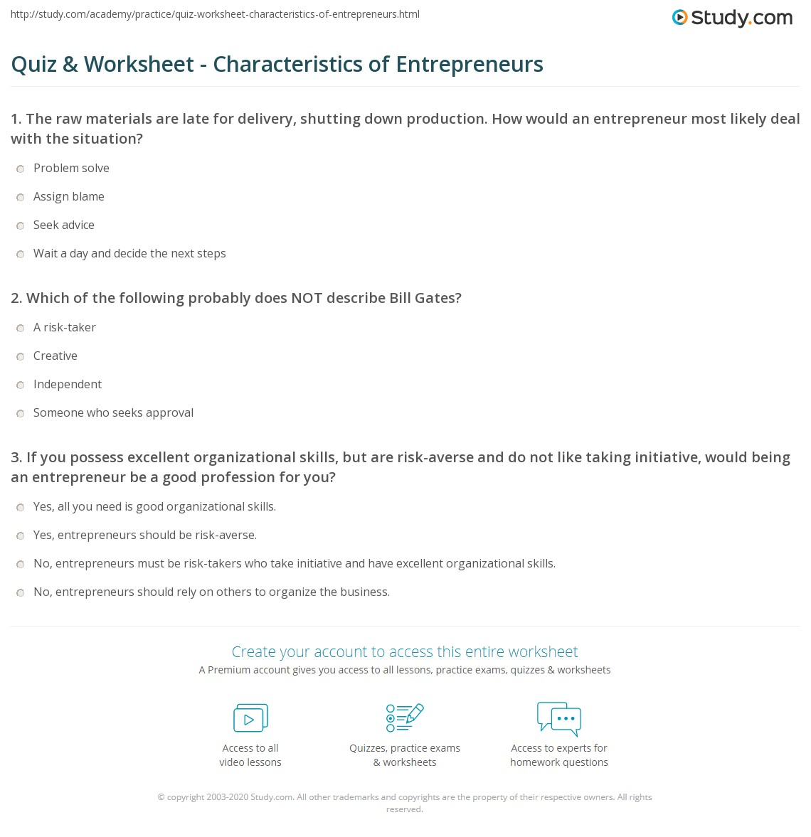 Quiz Worksheet Characteristics Of Entrepreneurs Study Com