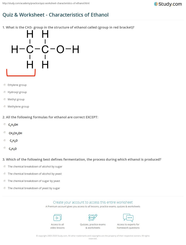 Quiz Worksheet Characteristics Of Ethanol Study Com