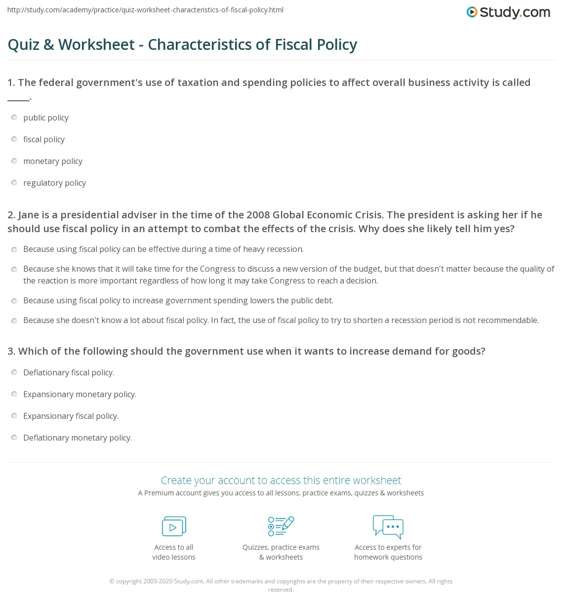 Quiz & Worksheet Characteristics of Fiscal Policy