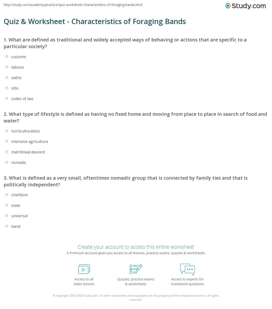 Quiz & Worksheet - Characteristics of Foraging Bands | Study.com
