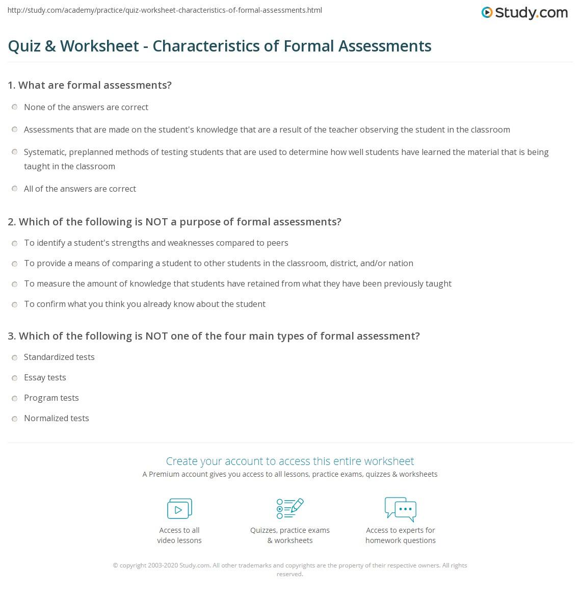 Print Formal Assessments: Examples U0026 Types Worksheet