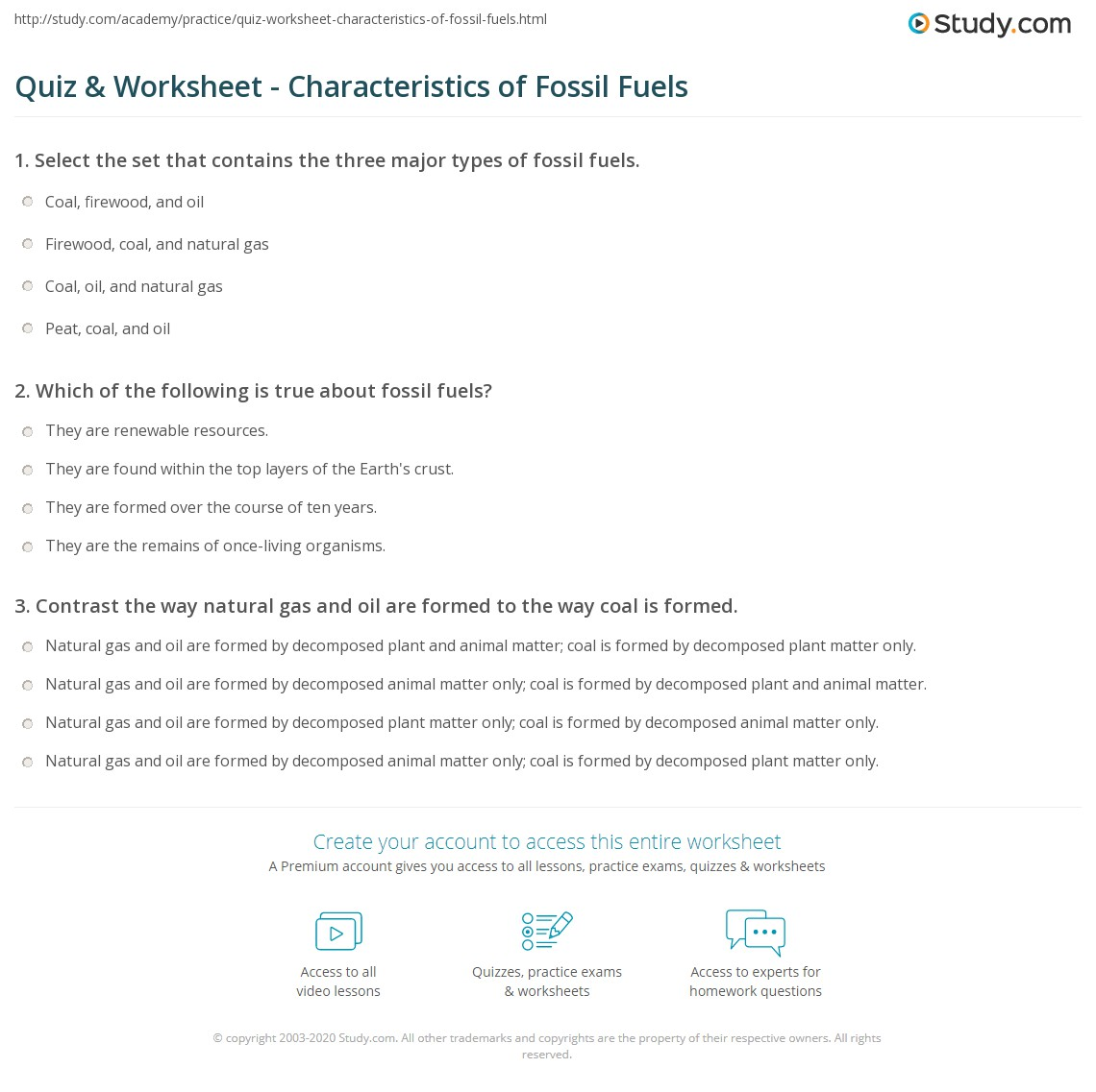 quiz & worksheet - characteristics of fossil fuels | study