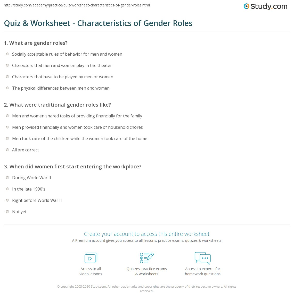 quiz & worksheet - characteristics of gender roles | study
