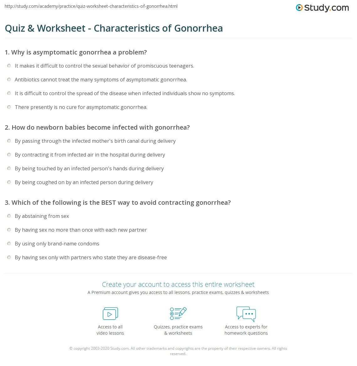 Quiz & Worksheet - Characteristics of Gonorrhea   Study com