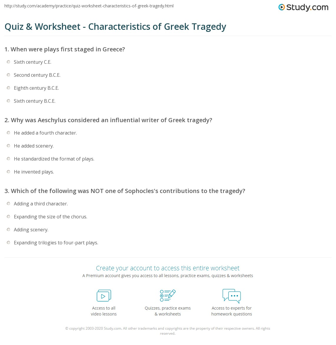 Quiz Worksheet Characteristics Of Greek Tragedy Study Com