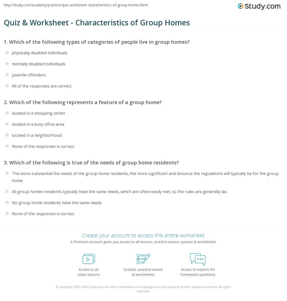Quiz & Worksheet - Characteristics of Group Homes   Study.com