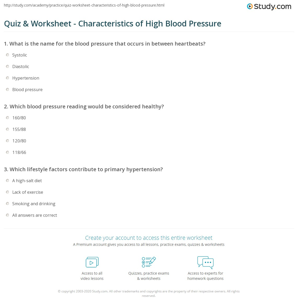 Quiz worksheet characteristics of high blood pressure study which blood pressure reading would be considered healthy nvjuhfo Gallery