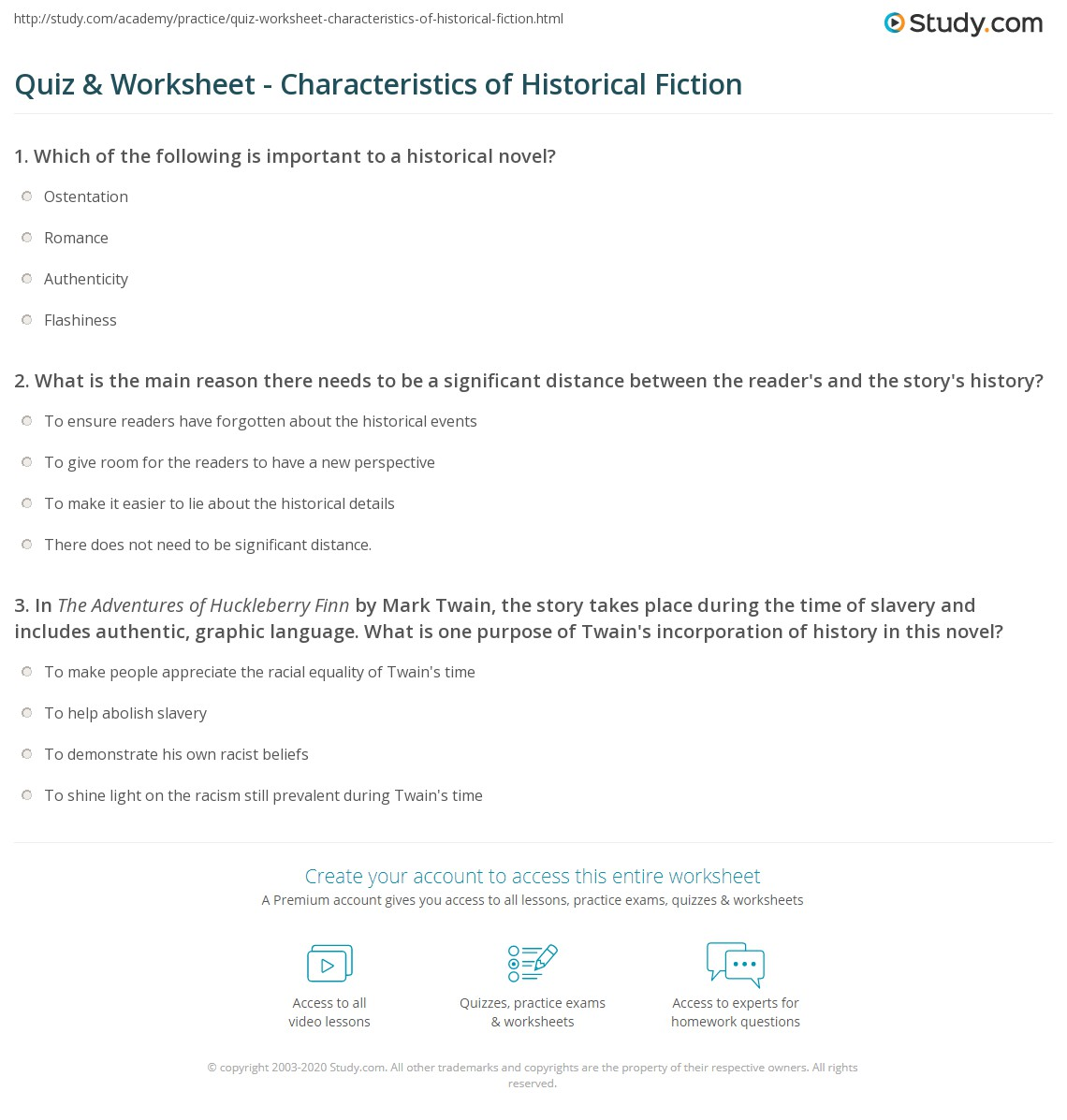 mark twain essay quiz worksheet characteristics of historical  quiz worksheet characteristics of historical fiction com already registered login here for access essay tom sawyer