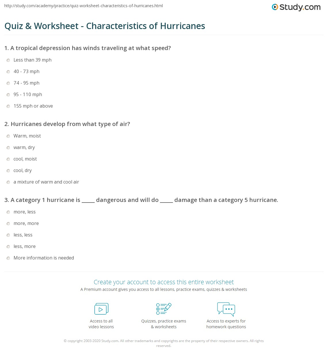 {Quiz Worksheet Characteristics of Hurricanes – Hurricane Worksheets