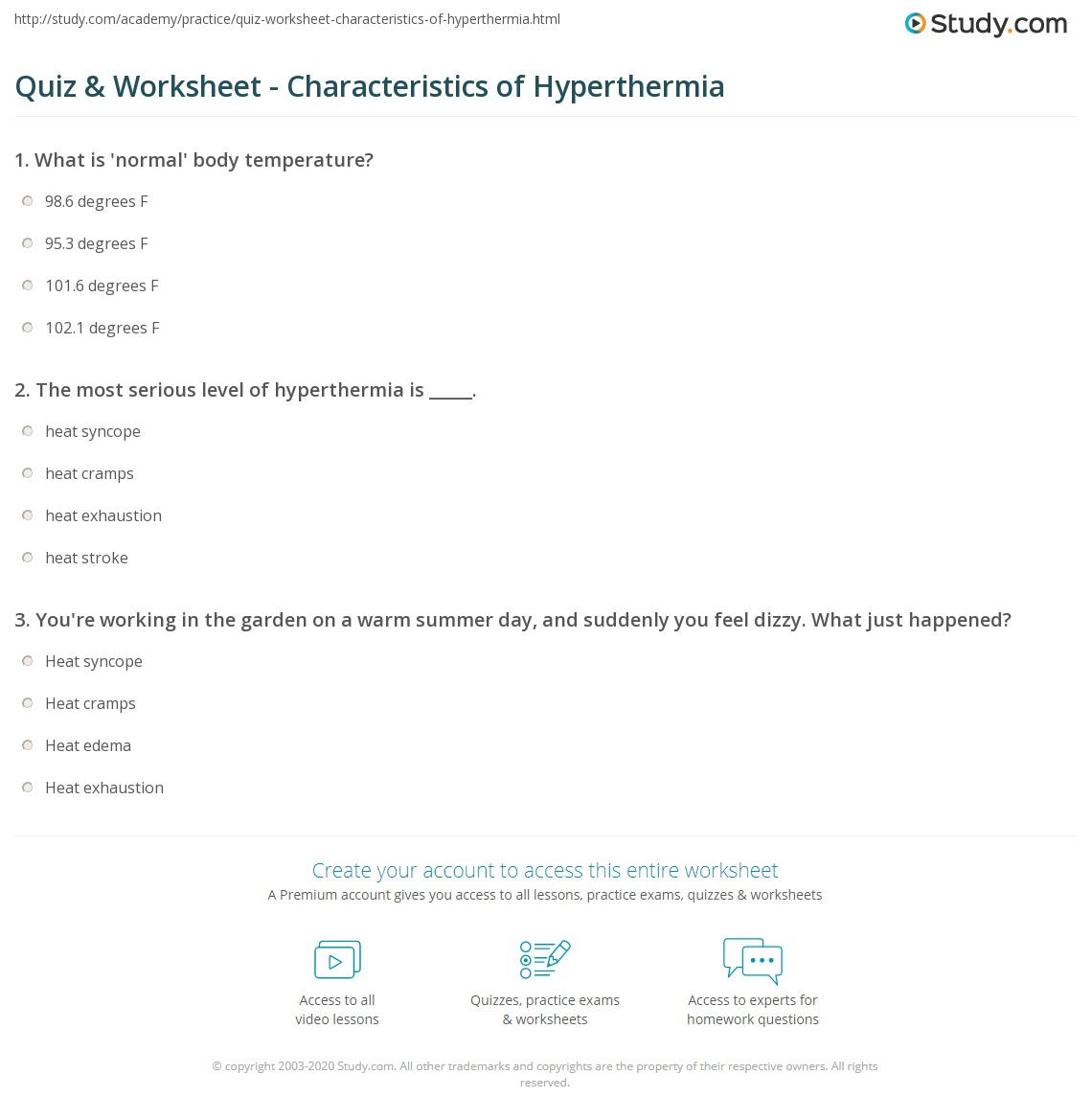 Quiz Worksheet Characteristics of Hyperthermia – All Summer in a Day Worksheet