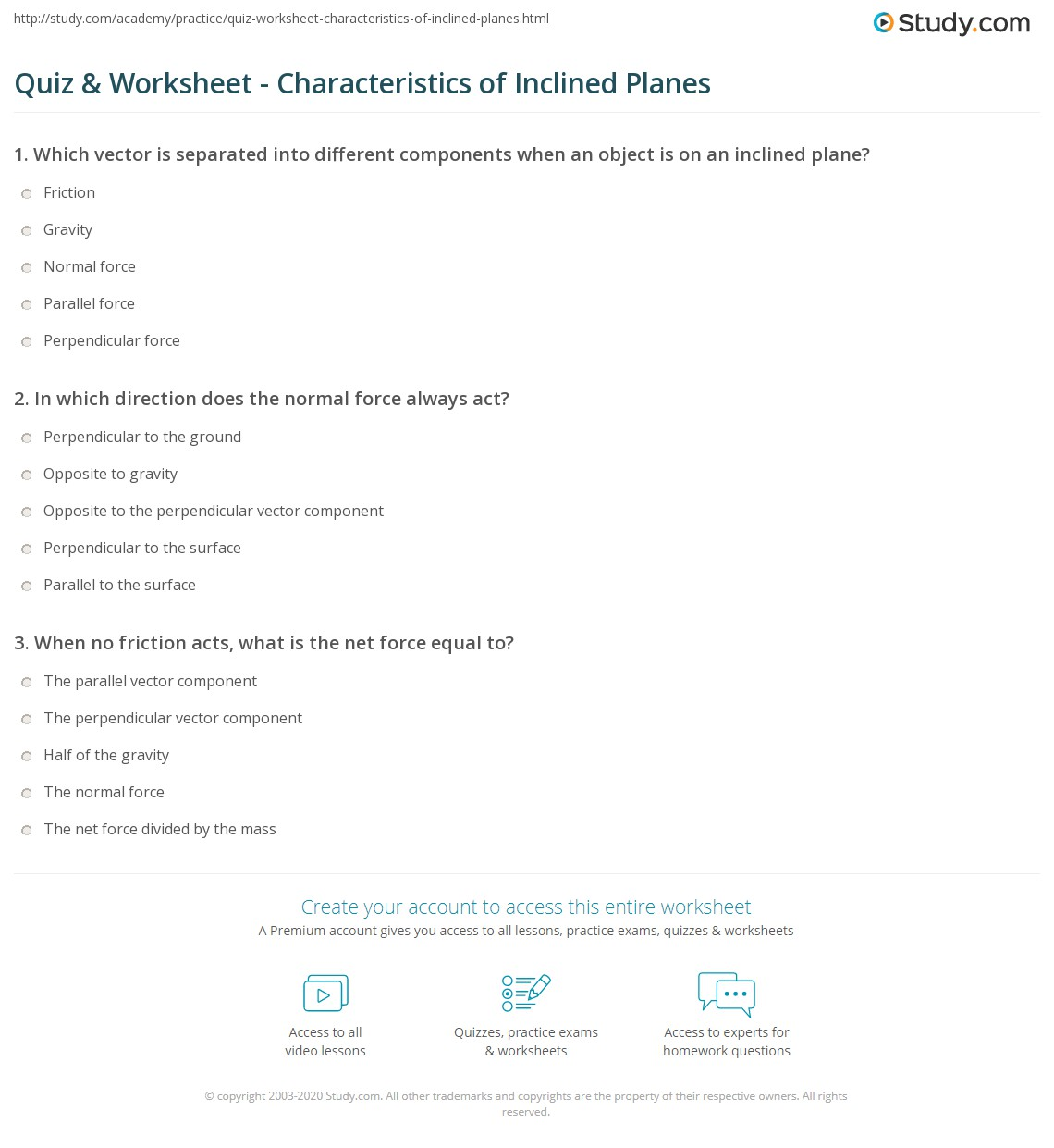 worksheet Inclined Plane Worksheet quiz worksheet characteristics of inclined planes study com print in physics definition facts and examples worksheet