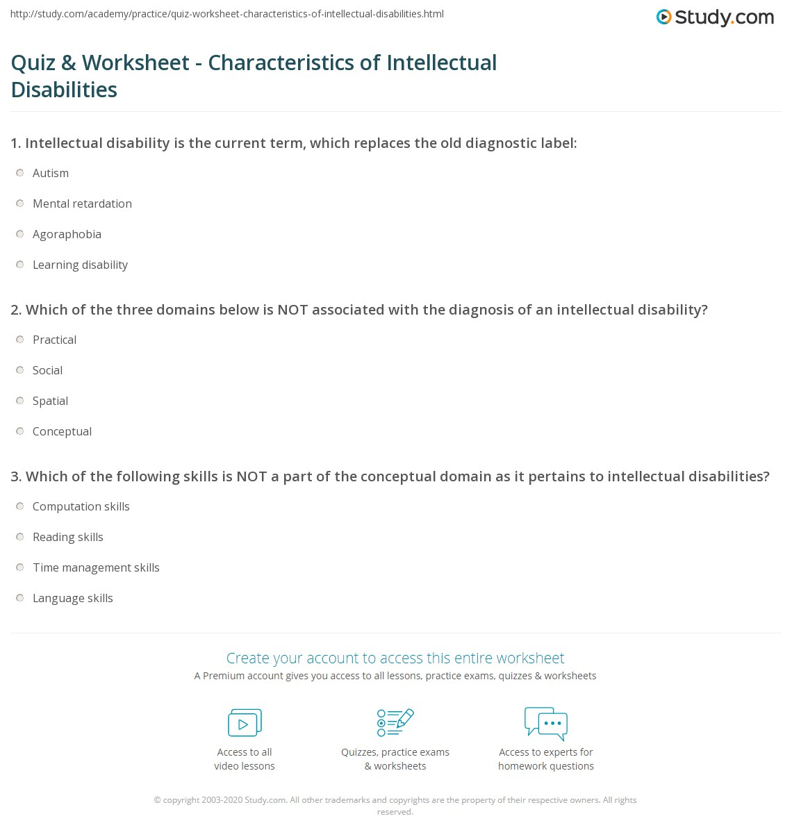 quiz & worksheet - characteristics of intellectual disabilities
