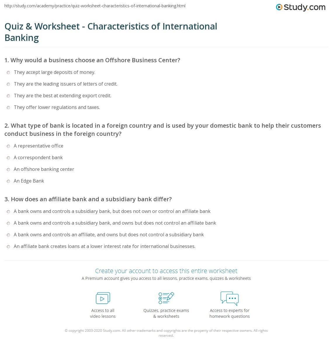 quiz worksheet characteristics of international banking. Black Bedroom Furniture Sets. Home Design Ideas
