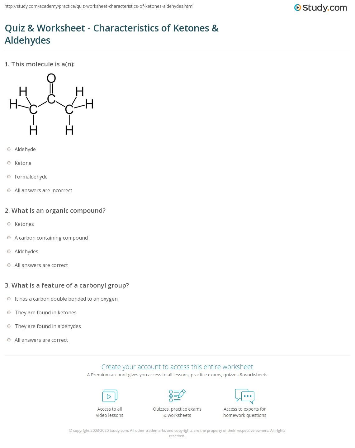 Quiz Worksheet Characteristics Of Ketones Aldehydes Study