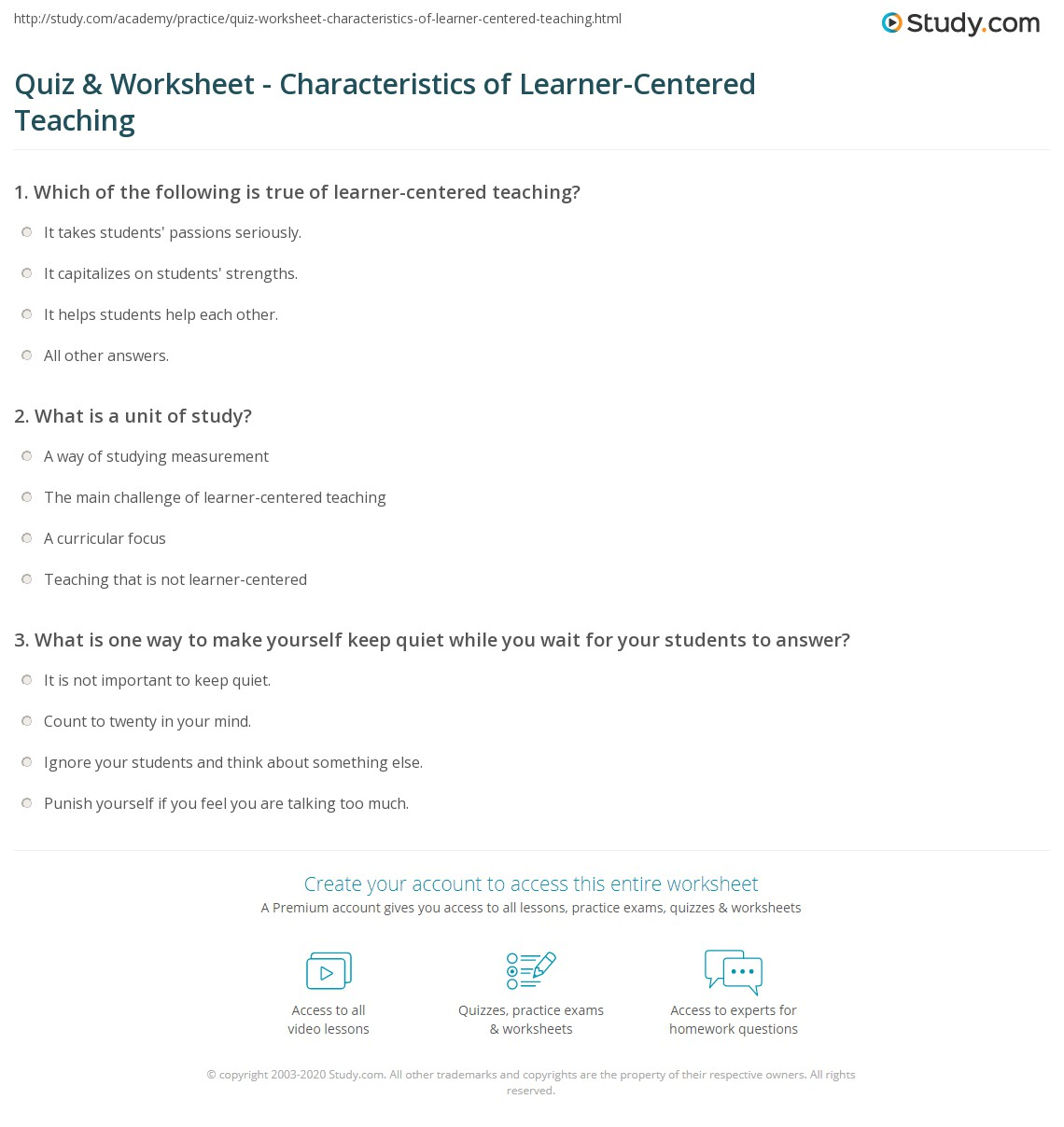 Quiz & Worksheet - Characteristics of Learner-Centered Teaching ...