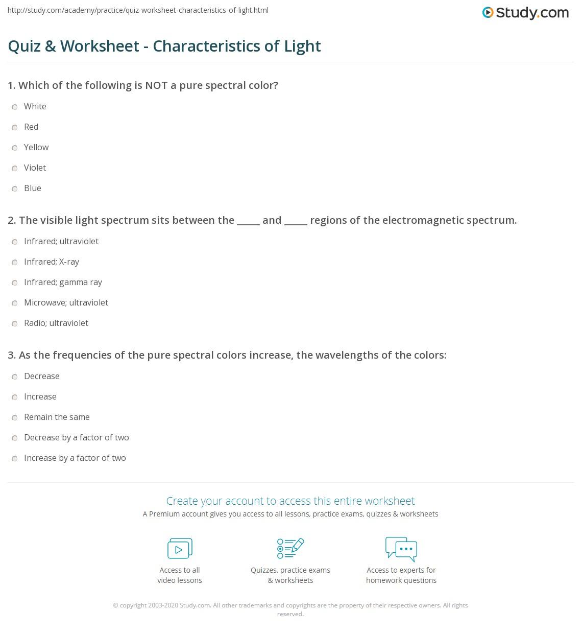 Worksheets Properties Of Light Worksheet quiz worksheet characteristics of light study com print the nature origin spectrum color frequency worksheet