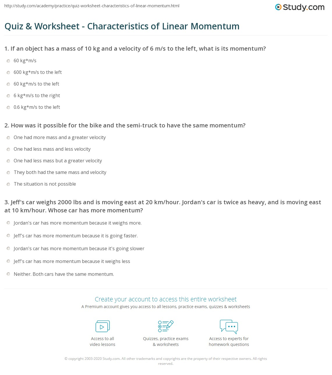 Quiz & Worksheet - Characteristics of Linear Momentum | Study.com