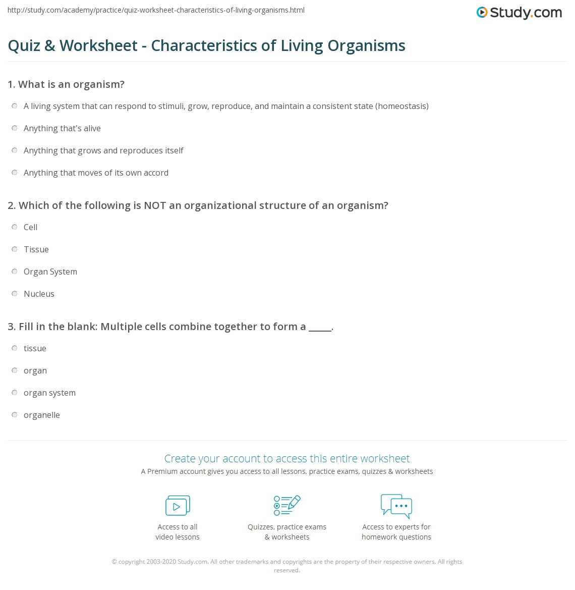 Worksheets Characteristics Of Living Things Worksheet quiz worksheet characteristics of living organisms study com print organization functions structure worksheet