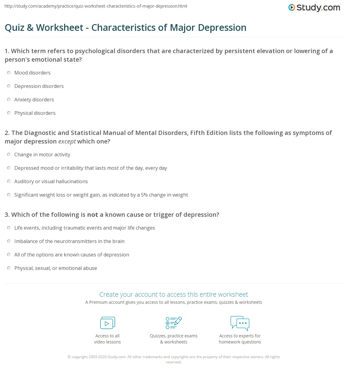 quiz & worksheet - characteristics of major depression | study