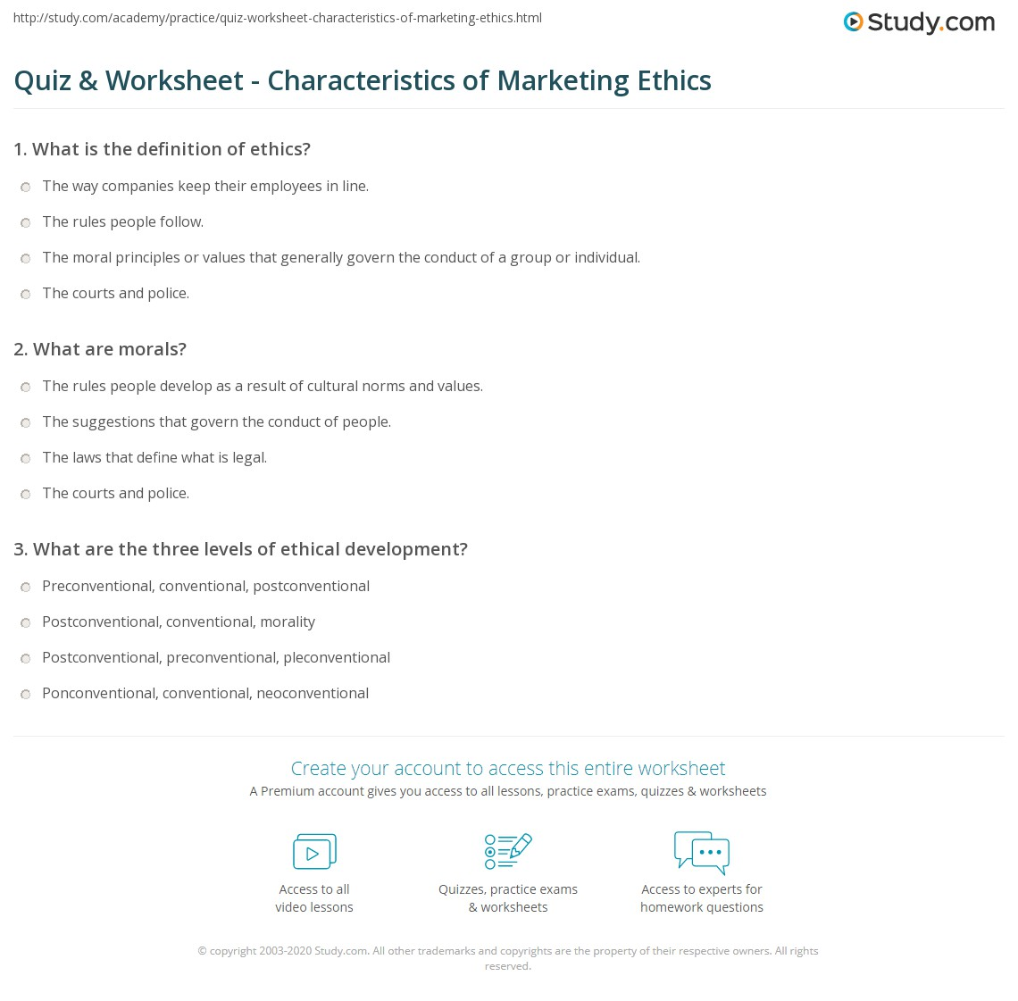 quiz & worksheet - characteristics of marketing ethics | study