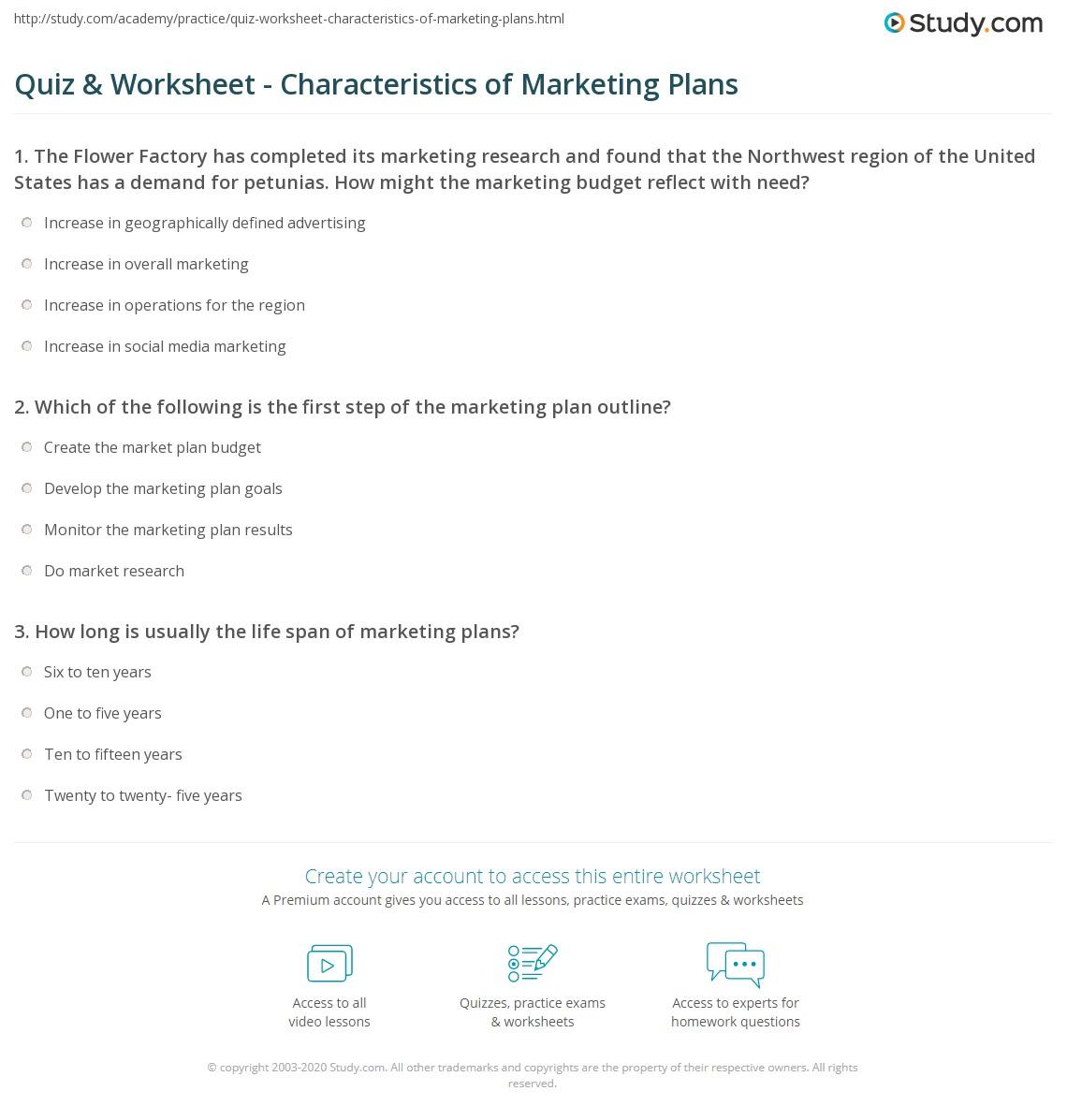 quiz & worksheet - characteristics of marketing plans | study