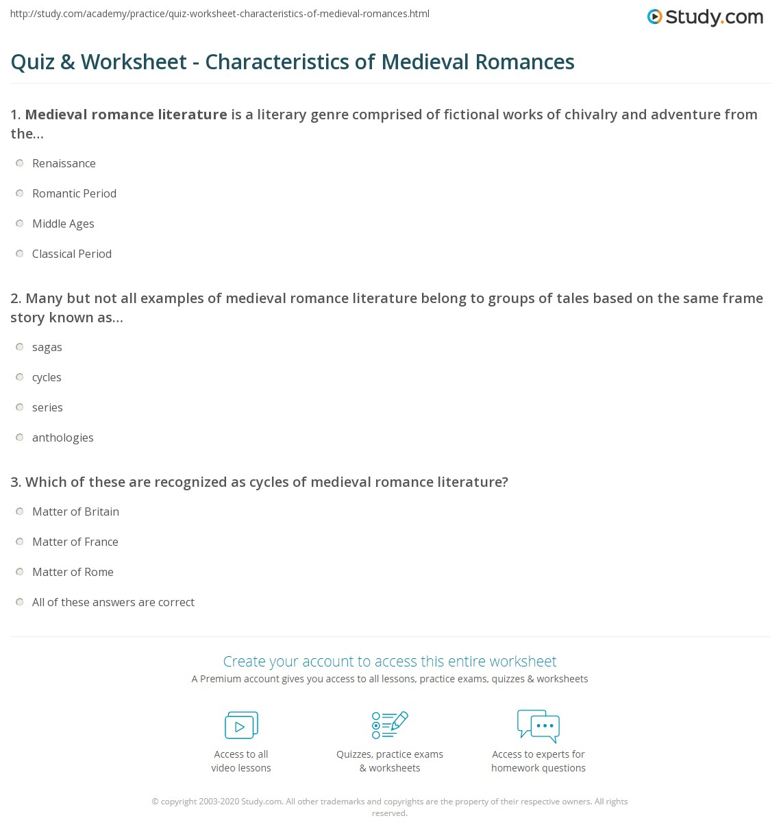 Quiz & Worksheet - Characteristics of Medieval Romances   Study.com
