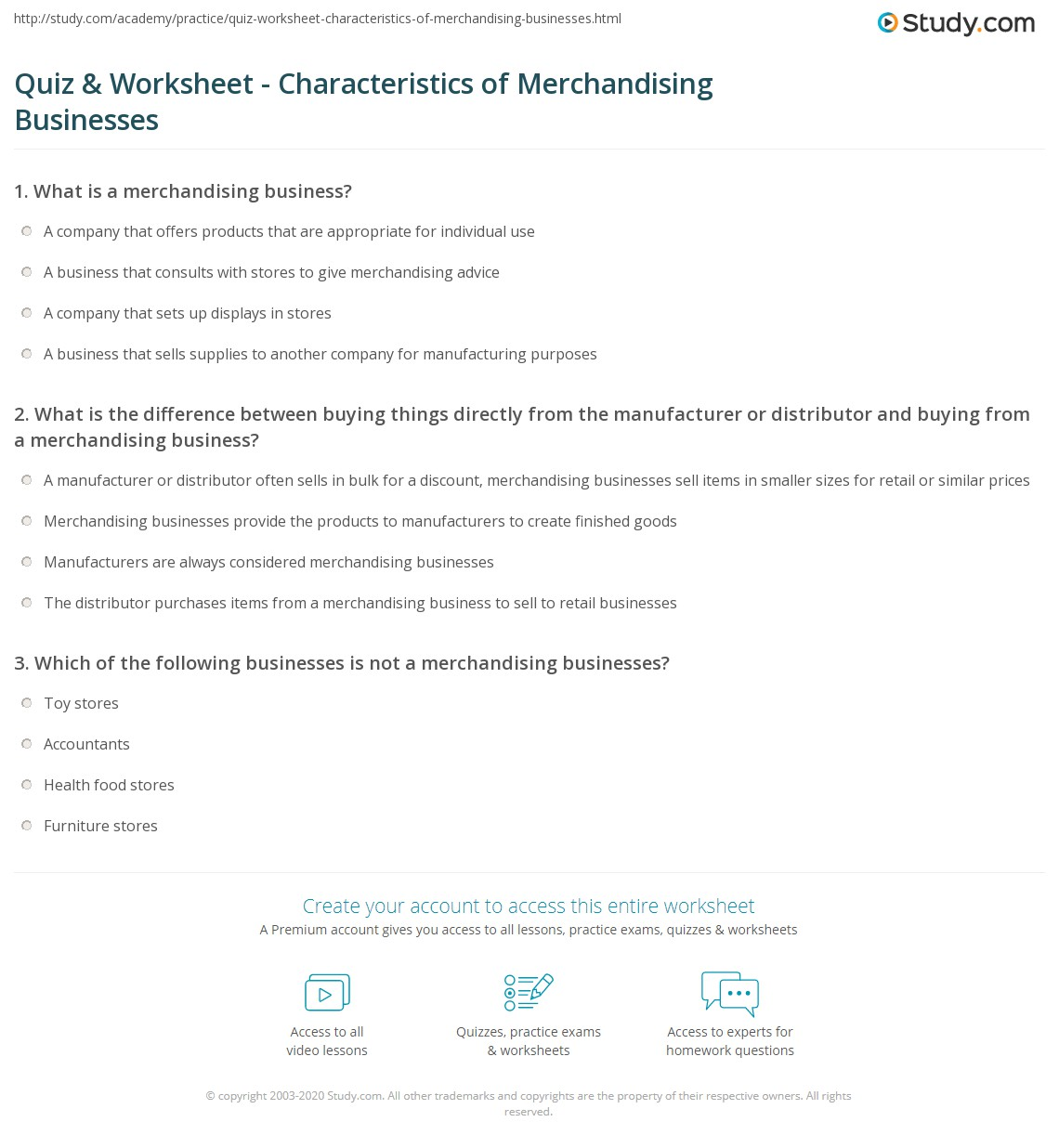Quiz & Worksheet - Characteristics of Merchandising Businesses ...